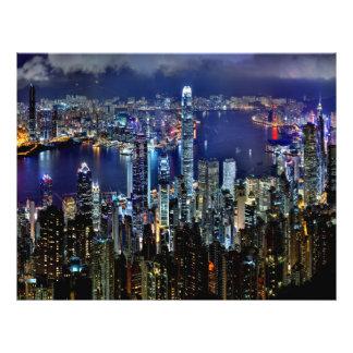 Hong Kong City Skyline Lights at Night 21.5 Cm X 28 Cm Flyer