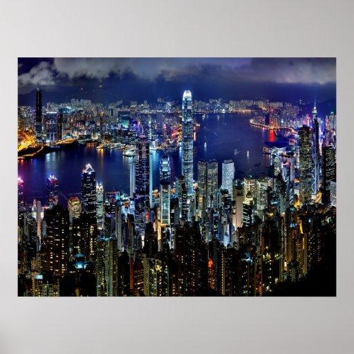 Hong Kong City Skyline Lights at Night Poster