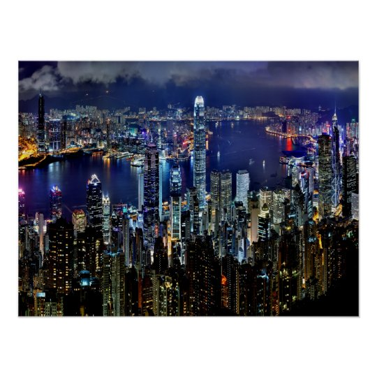 Hong Kong City Skyline Lights at Night Poster