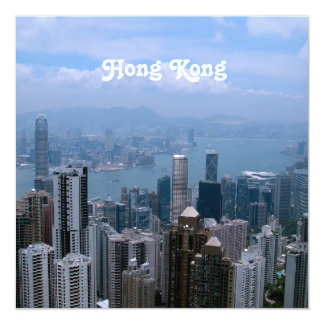 Hong Kong Cityscape 13 Cm X 13 Cm Square Invitation Card