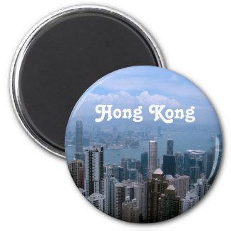 Hong Kong Cityscape 6 Cm Round Magnet