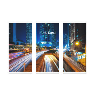Hong Kong Cityscape at Night Canvas Print