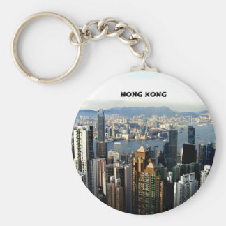 Hong Kong Cityscape Basic Round Button Key Ring
