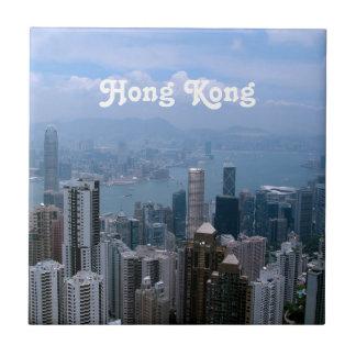 Hong Kong Cityscape Small Square Tile