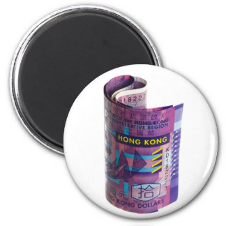 Hong Kong currency rolled 6 Cm Round Magnet