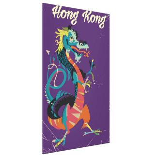 Hong Kong Dragon vintage style travel poster Canvas Print