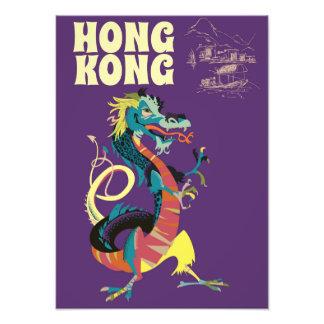 Hong Kong Dragon vintage travel poster Photo Print