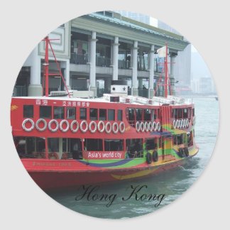 Hong Kong Ferry Round Stickers
