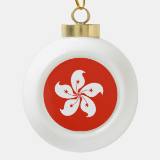 Hong Kong Flag Ceramic Ball Christmas Ornament