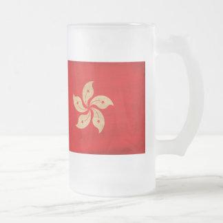 Hong Kong Flag Frosted Glass Mug