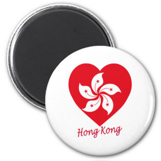 Hong Kong Flag Heart 6 Cm Round Magnet