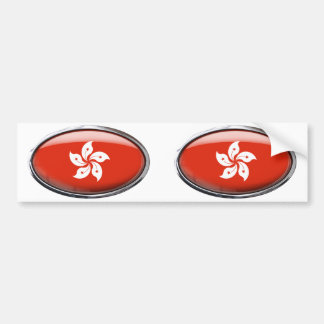 Hong Kong Flag in Glass Oval Bumper Stickers