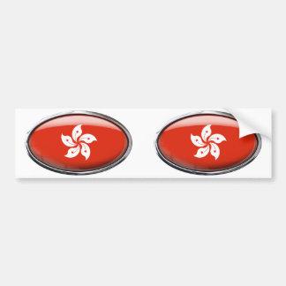 Hong Kong Flag in Glass Oval Bumper Sticker