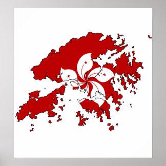 Hong Kong Flag Map full size Poster