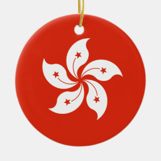 Hong Kong Flag Round Ceramic Decoration