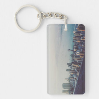 Hong Kong From Above Single-Sided Rectangular Acrylic Key Ring