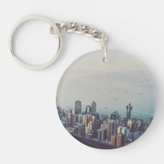 Hong Kong From Above Single-Sided Round Acrylic Key Ring