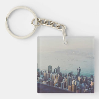 Hong Kong From Above Single-Sided Square Acrylic Key Ring