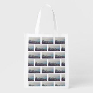 Hong Kong From Above Tile Pattern Reusable Grocery Bag