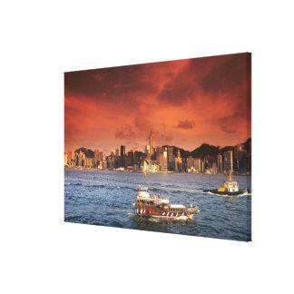 Hong Kong Harbor at Sunset Canvas Print