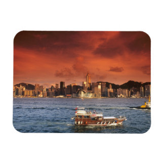 Hong Kong Harbor at Sunset Rectangular Photo Magnet