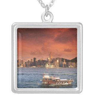 Hong Kong Harbor at Sunset Silver Plated Necklace