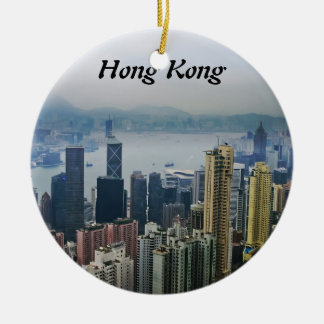 Hong Kong Harbor Mists Round Ceramic Decoration