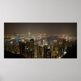Hong Kong Harbor (night scene) Poster
