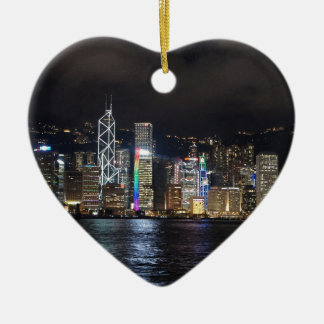 Hong Kong Harbour at night Ceramic Heart Decoration