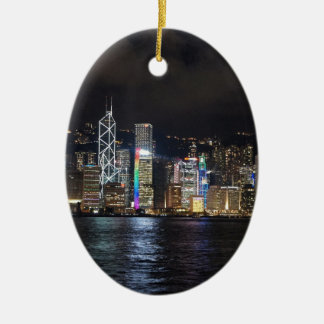 Hong Kong Harbour at night Ceramic Oval Decoration