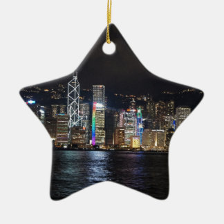 Hong Kong Harbour at night Ceramic Star Decoration