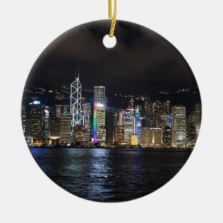Hong Kong Harbour at night Round Ceramic Decoration