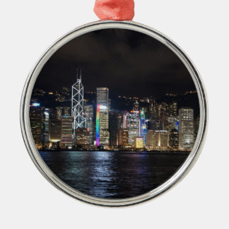 Hong Kong Harbour at night Silver-Colored Round Decoration