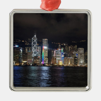 Hong Kong Harbour at night Silver-Colored Square Decoration