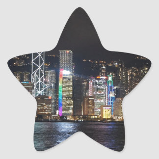 Hong Kong Harbour at night Star Sticker
