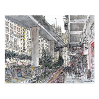Hong Kong Island urban sketch. Postcard