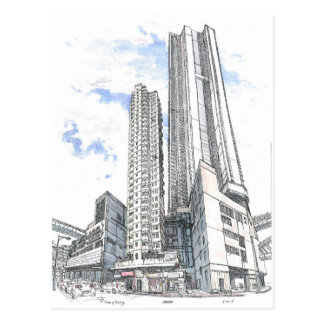 Hong Kong. Kowloon Olympic. Urban Sketch Postcard