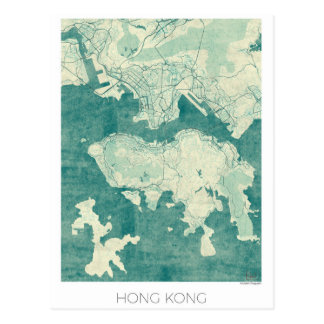 Hong Kong Map Blue Vintage Watercolor Postcard