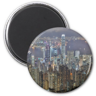 Hong Kong Night Skyline from Victoria Peak 6 Cm Round Magnet