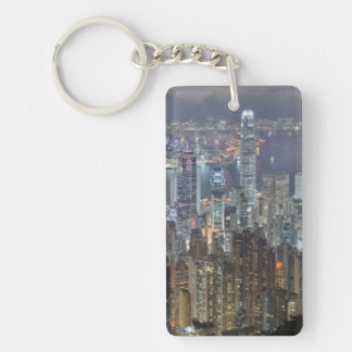 Hong Kong Night Skyline from Victoria Peak Single-Sided Rectangular Acrylic Key Ring