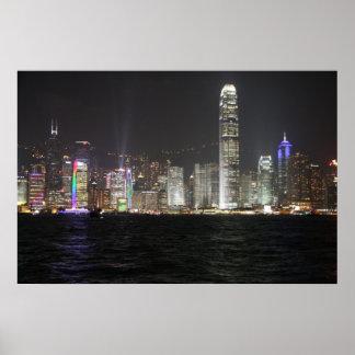 Hong Kong Night Skyline Poster
