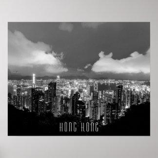 Hong Kong Night View Black & White Poster