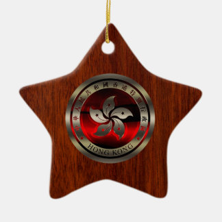Hong Kong Ruby Seal on Mahogany Print Ceramic Star Decoration