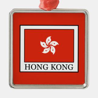 Hong Kong Silver-Colored Square Decoration