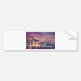 Hong Kong Skyline At Night Bumper Stickers