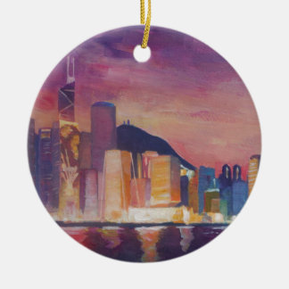 Hong Kong Skyline At Night Christmas Ornament