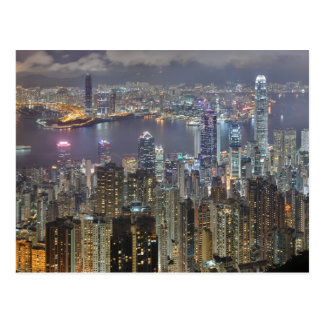 Hong Kong skyline at night Post Card