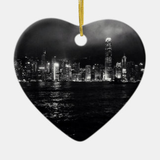 Hong Kong Skyline Ceramic Heart Decoration