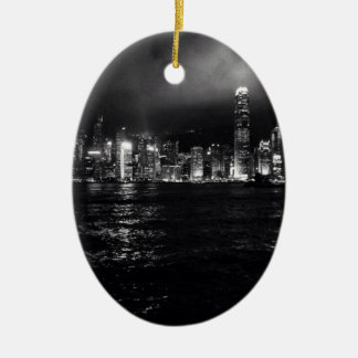 Hong Kong Skyline Ceramic Oval Decoration