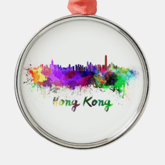 Hong Kong skyline in watercolor Silver-Colored Round Decoration